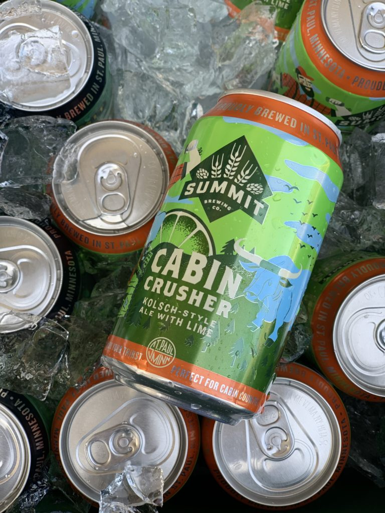 Cabin Crusher Kolsh-Style Ale with Lime on Ice