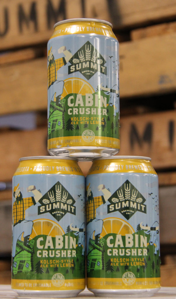 Cabin Crusher Kolsch-Style Ale with Lemon Cans Stacked