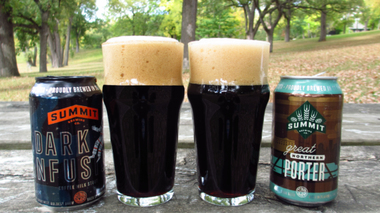 Dark Infusion Coffee Milk Stout and Great Northern Porter Cans & Pour Shot